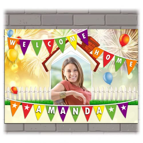 Personalised Welcome Home PHOTO Poster Banner N214